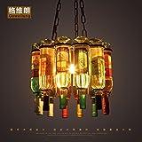 DYBLING LED Leuchter Einfache, moderne Schlafzimmer Flur bar Pendelleuchten Deckenleuchte Industrieglas wind Flasche Wein Eisen