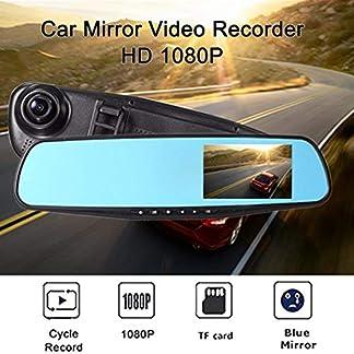 minlop-Auto-Recorder-Kamera-Rckfahrkamera-DVR-fr-Fahrzeuge-Vorne-und-Hinten-28-Zoll-LCD-Farbdisplay-im-Rckspiegel-Monitor-Dash-Cam-Rckspiegel-fr-Auto-Bus-LKW-Schulbus-Anhnger