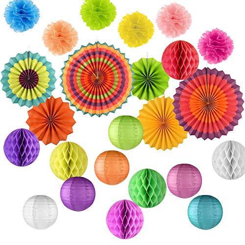 FEPITO 24 Piezas Fans de Papel Colgantes, Tissue Paper Pom Poms, Linternas de Papel y Bolas de Panal para la Boda, Baby Shower, Decoraciones de Fiesta de Cumpleaños Favor de Suministros