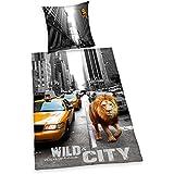 Herding 4459201050412 diseño de Nueva York Lion, funda de almohada, 80 x 80 cm y funda de edredón, 135 x 200 cm, diseño de
