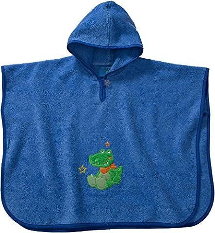 Morgenstern, hochwertiger Frottee - Bade - Poncho aus 100 % Baumwolle, Farbe blau, Motiv Krokodil, Größe one size (ca. 1 bis 3 Jahre)