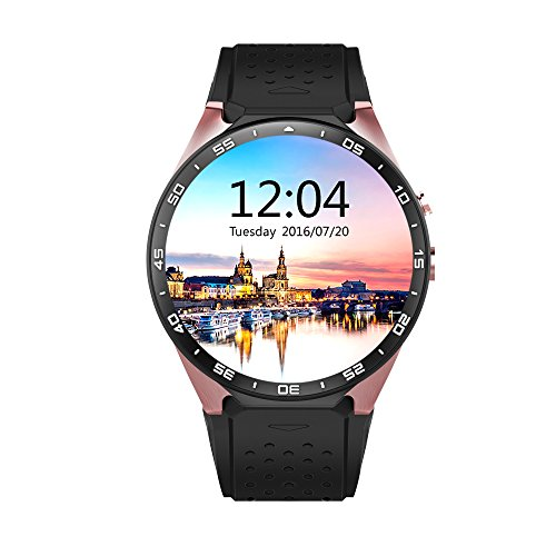 AWOW KW88 3G WIFI Android 5.1 Smartwatch - KingWare All-In-One Smart Watch With Nano SIM Card Slot GPS Camera Heart Rate Monitor Google Map Google Play (Black+Gold)