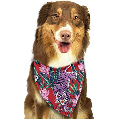 Wfispiy Purple Tiger and Purple Flower Pet Dog Bandanas Triangle Bibs Scarf Accessories for Medium to Large - Medium Thor Kostüm