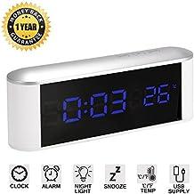 LED Digital Despertador con botones táctiles, función Snooze, Temperatura, Atenuador de brillo y Luz Nocturna, Alarma Reloj con gran pantalla - Funciona con pilas / alimentado por USB (blanco)