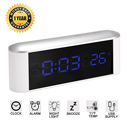 LED Digital Despertador con botones táctiles, función Snooze, Temperatura, Atenuador de brillo y Luz Nocturna, Alarma Reloj con gran pantalla - Funciona con pilas / alimentado por USB (blanco-azul)