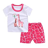SHOBDW Girls Clothing Sets, Kids Baby Boys Cute Cartoon Giraffe Short Sleeve Tops Shirt + Pants Pajamas Set Newborn Infant Outfits