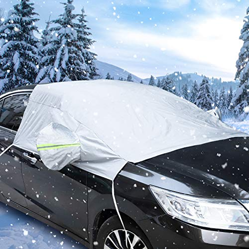 Car Cover Windscreen,Car Windscreen Cover Sedan Windshield Snow Cover with Elastic Hooks Magnetic Snow Cover Windshield Ice Cover Reflective Warning Bar on Mirror Covers Winter Windscreen Protector