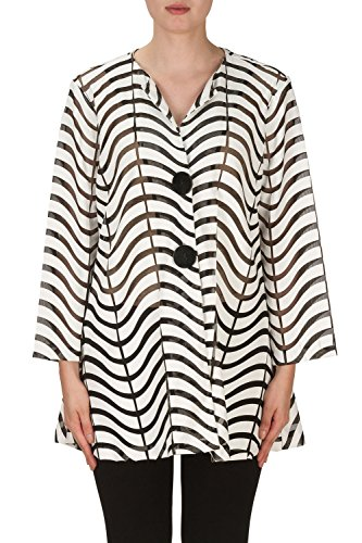 Joseph Ribkoff Black & White Semi-Sheer Zig Zag Striped Jacket Style 171816