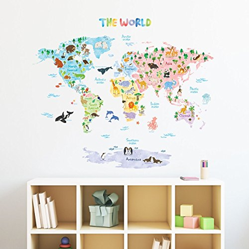 Decowall - Vinilos decorativos de pared para niños, diseño de mapamundi y animales, fácil de poner y quitar; adhesivos para dormitorios y espacios infantiles (1615)., multicolor, Large