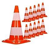 ECD Germany 10 Piezas Cono de tráfico Conos de señalización Color Naranja y Blanco 50cm de Altura en PVC