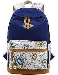 dbc378a19c MCWTH Mochila Escolar de Ocio Ligera y Moderna Lona Floral Cartera Escolar  Mochila Viajes Daypacks para Mujer o…