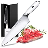 Godmorn Chef Knife 8 Inch German Stainless Steel Professional Kitchen Knife Vegetable Knife Gyutou Knife with White Handle,Ideal Gift with Gift Box