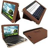 """igadgitz Marrón 'Portfolio' Eco-Piel Case Cover para Asus Eee Pad Transformer Pad & Base Dock Teclado TF300 TF300T TF300TG & TF300TL 10.1"""" Android Tablet"""