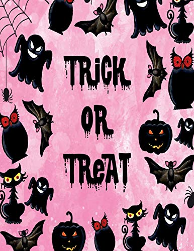 Trick or treat: Trick or treat  on pink cover and Dot Graph Line Sketch pages, Extra large (8.5 x 11) inches, 110 pages, White paper, Sketch, Draw and Paint (Trick or treat  on pink notebook) (Paint Cat-body Halloween)