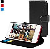 Snugg iPod Touch 6G / 5G Flip Case & Lifetime Guarantee (Black Leather) for Apple iPod Touch (5th / 6th Generation)