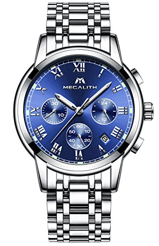 Herren Edelstahl Uhren Männer Chronograph Luxus Design Wasserdicht Datum Kalender Armbanduhr Geschäfts Beiläufig Kleid Analog Quarz Uhr mit Römische Ziffern Zifferblatt Silber Uhrenarmband (Blau)