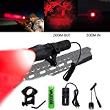 VastFire Zoomable Adjustable Focus Red Q5 LED 250 yard Tactical Hunting Flashlight Torch Coyote Hog Pig Varmint Predator Light With Remote Pressure Switch & Scope, Rail or Barrel Rifle Mount