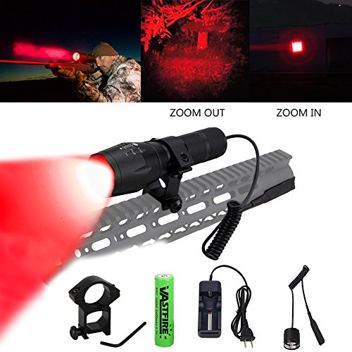 Vastfire - Luz LED color rojo rifle caza, zoom 320 metros