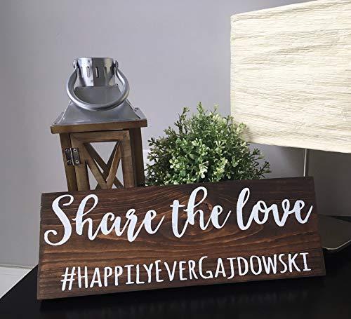 Wood Plaque Share The Love Schild Social Media Hashtag Hochzeitsgeschenk Schild rustikal Holz Empfangszeremonie Tischdeko Frühling Sommer Winter Junggesellenabschied (Rustikal-media-möbel)