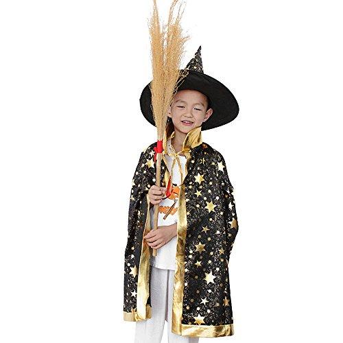 Vertvie Kinder Halloween Kostüm Kap Robe mit Hut Hunpta Zauberer Hexe Umhang für Jungen Mädchen (80CM, (Awesome Halloween Kostüme Für Mädchen)