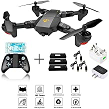 XS809W Foldable RC Quadcopter with Altitude Hold FPV VR Wifi Wide-angle 720P 2MP HD Camera 2.4GHz 6-Axis Gyro Remote Control XS809HW Drone (XS809W drone+ 3 battery+ 3 usb cable +1 charger)