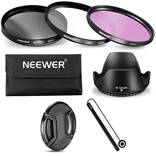 Galleria fotografica Neewer 52mm Kit di Filtri & Accessori per Fotocamere & Obiettivi Nikon con Filettatura 52mm: Filtro UV/CPL/FLD + Custodia per Filtri + Parasole + Copriobiettivo + Custode per Copriobiettivo