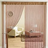 #4: Exporthub Beautiful Polyester Door Threads String Curtain - 7ft, Brown
