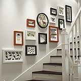 QU HUAI DONG AA Foto Wand Massivholz Bilderrahmen Wand Treppen Foto Wand Korridor Wand Bilderrahmen Kombination Dekorative Wand Hintergrund Home (Farbe : A)