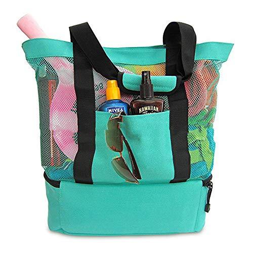 Womdee Netztasche für den Strand mit Reißverschluss Oben, für Picknick, Grillen, Schwimmen, Outdoor, Reisen, Grün