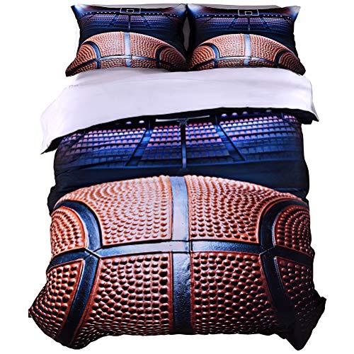 WarmGo 3D Basketball Druck Betten Sets 3D Bettbezug Set, Dünn, aber strapazierfähiges Mikrofaser Polyester Bett Set inkl. 1Bettbezug und 2Kissen (Nicht Enthalten Tröster) Twin Size Basketball (Burgund Twin Tröster Set)