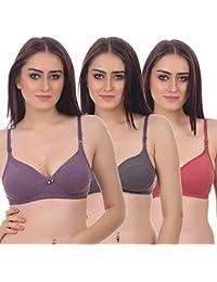 Embibo by Pack of 3 Bra Set Women's Full Coverage Bra (Multicolor)