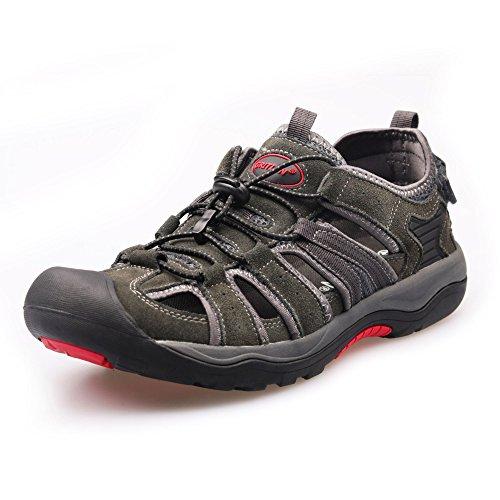 GRITION Herren Sandalen Wildleder Wasser Sandale Wanderschuhe Schutz Geschlossene Zehe Walking Sandalen Verstellbarer Riemen für den Sommer (42 EU, Grau) (Riemen-sandalen Männer)