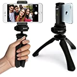 iGadgitz PT310 Black Mini Lightweight Tripod with Grip Stabilizer + Universal Smartphone Holder Mount Adapter for Apple iPhone 6 6S 4.7