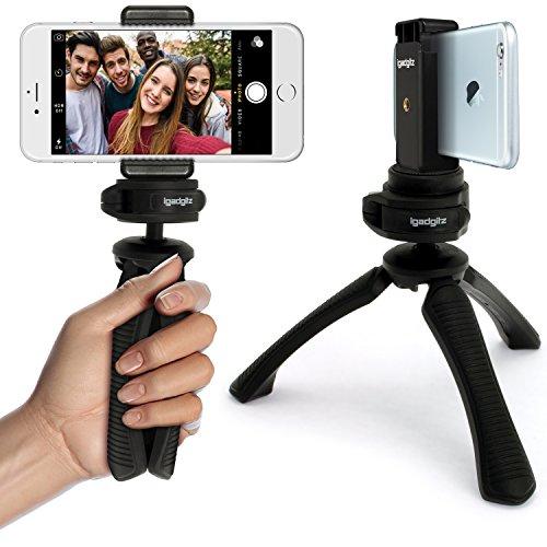 igadgitz Nero Mini Treppiede Stabilizzatore Manico + Universale Cellulare Smartphone Supporto Staffa di Montaggio Adattatore Per Apple iPhone 6 6S 4.7