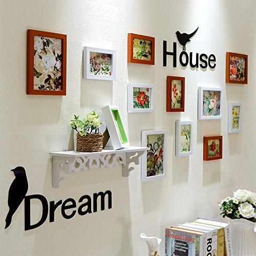 Bilderrahmen Set Weiß/Walnüsse in Europa style Mediterran stil Dekorationen kreative Fotowand panel Wohnzimmer Wand Zubehör montieren - Walnuss-wand Montieren