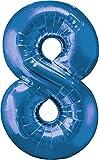 XXL Zahlen Folienballons - Mit Helium gefüllt - Blau 8 - Bunte Zahlenballons für Geburtstag Jubiläum Silvester