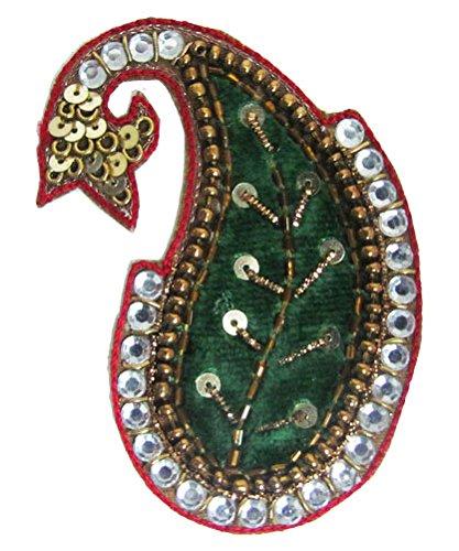 Green Velvet Paisley Form Königs Applikationen Aufnäher Nähen Craft Indien (Velvet Tasche Green)