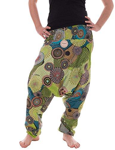 Vishes �?alternative Bekleidung �?Haremshose warm aus Baumwolle - bedruckt und bestickt - lange Einheitsgröße 36-44 Hellgrün