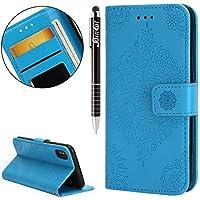 iPhone X Hülle,iPhone X Ledertasche Handyhülle Brieftasche im BookStyle,SainCat Retro 3D Palast Blume Muster PU... preisvergleich bei billige-tabletten.eu
