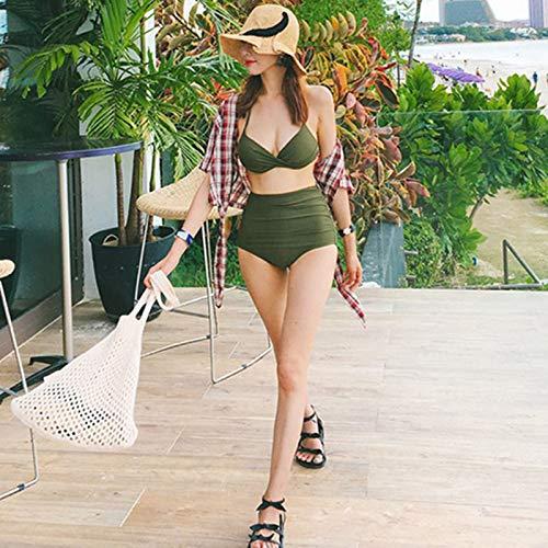 F-S-SHUAI Bañadores Mujer Pura Sexy Trajes De Baño Tripartitos, XL, Verde Militar