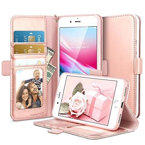 ESR iPhone 8 Plus Hülle, iPhone 7 Plus Hülle, Premium PU Leder Klapphülle mit Kartenfach, Vorne und Hinten Schutzhüllefür Apple iPhone 8/7 Plus 5.5 Zoll 2017 Freigegeben. (Rose Gold)