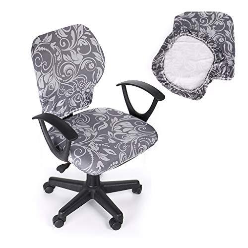 BTSKY - widerstandsfähiger, elastischer Sitzbezug für Bürostühle, zweiteiliges Design (Stuhl nicht im Lieferumfang enthalten) grau - Machen Esszimmer Stuhl Hussen