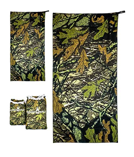 OUTDOOR NINJA Microfaser Outdoor Survival Hunting Handtuch 2er Set Dry&Seek 3D Woodland Tarnmuster
