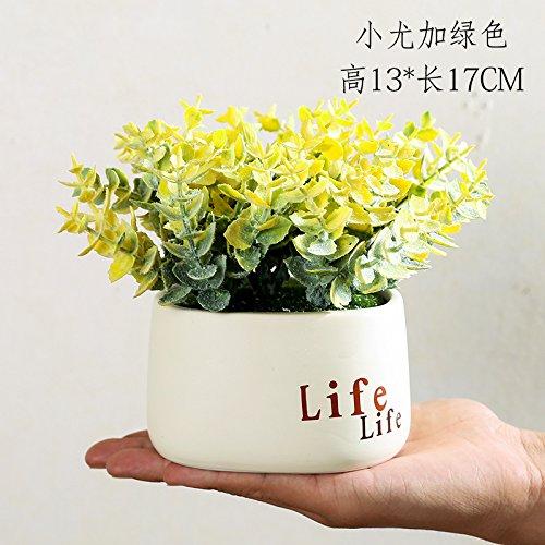 Fleurs artificielles Simulation simple table basse moderne décoration fleur fleurs meubles de jardin décoration d'ameublement de maison de l'usine de création de petites plantes en pot en pot,Petit Yuga Huang