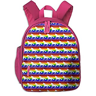 Childrens Backpack for Girls,Rainbow White Silhouetted Unicorns (Horizontal Stripes)_4370-beccacsmith,for Children's Schools Oxford Cloth (Pink)