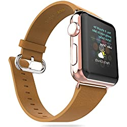 For Apple Watch Band, Fulltime(TM) HOCO Genuine Leather Strap Classic Buckle Adapter for Apple Watch 38mm