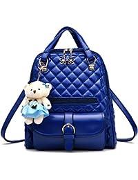 Wewod Mode Schultertasche Rucksack PU-Leder Frauen Mädchen Damen Rucksack Reisetasche mit Chic Pendent