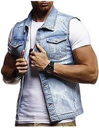 LEIF NELSON Herren Jeansweste Basic Stretch Destroyed Vintage Jeans Weste  Stehkragen Jeansjacke Hoodie Freizeitjacke Sommerjacke Pullover 886a31e493