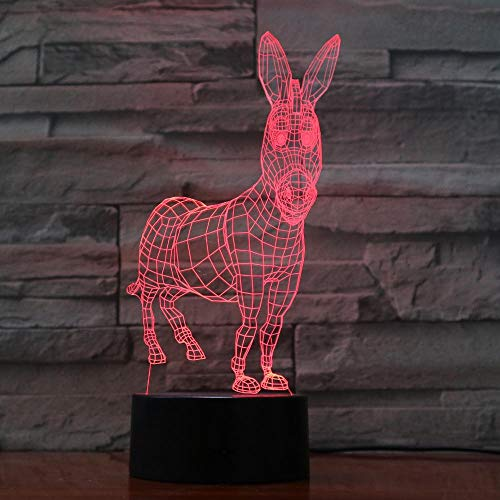 3D Nachtlicht Esel 7 Farben Ändern 3D Visuelle Tiermodellierung Schreibtischlampe Led Atmosphäre Wohnkultur Leuchte Kinder Touch Nachtlichter