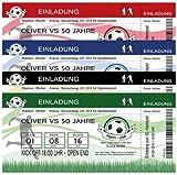 Einladungskarten zum Geburtstag Motiv Fussball in 4 verschiedenen Farben (15 Stück)